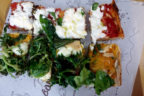 Delicious pizza with pumpkin puree, ricotta and tomato