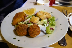 Trio of fried appetizers: codfish, squash blossoms, meatballs